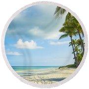 Palms On The Beach Round Beach Towel