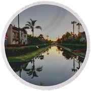 Palms Reflected Round Beach Towel