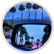 Palms Sunset Reflection Round Beach Towel