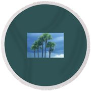 Palmy Skies Round Beach Towel by Rachel Hannah
