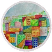 Round Beach Towel featuring the painting Palmyra by Kim Nelson