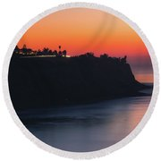 Palos Verdes Coast After Sunset Round Beach Towel