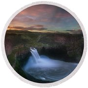 Round Beach Towel featuring the photograph Palouse Falls Sunrise by William Lee