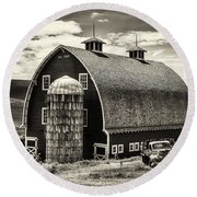 Palouse Icon In Sepia Round Beach Towel by Mark Kiver