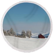 Palouse Saltbox Barn Winter  II Round Beach Towel