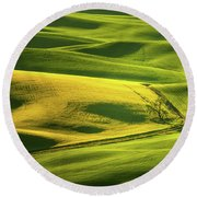 Palouse Shades Of Green Round Beach Towel
