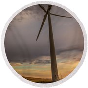 Palouse Windmill At Sunrise Round Beach Towel