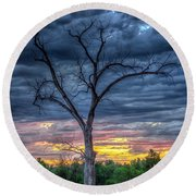 Round Beach Towel featuring the photograph Palpatine Tree by Fiskr Larsen