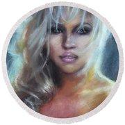 Pamela Anderson Round Beach Towel