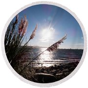 Pampas By The Sea Round Beach Towel