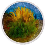 Round Beach Towel featuring the photograph Pampas Grass by Iowan Stone-Flowers