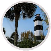 Pampas Grass, Palms And Lighthouse Round Beach Towel