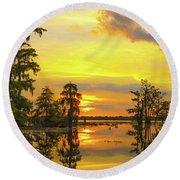 Panorama The Yellow Sunset Of Louisiana  Round Beach Towel