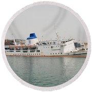Panagia Tinou Ferry Sinking In Athens Round Beach Towel