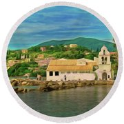 Round Beach Towel featuring the photograph Panagia Vlacherna Church - Pontikonisi - Corfu by Leigh Kemp