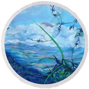 Round Beach Towel featuring the painting Panama. Anton Valley by Anna  Duyunova
