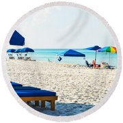 Panama City Beach Florida With Beach Chairs And Umbrellas Round Beach Towel