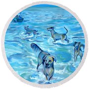 Round Beach Towel featuring the painting Panama. Salted Dogs by Anna  Duyunova