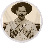 Pancho Villa Round Beach Towel by Antonio Romero
