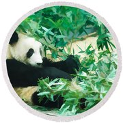 Round Beach Towel featuring the painting Panda 1 by Lanjee Chee