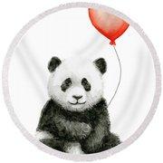 Panda Baby And Red Balloon Nursery Animals Decor Round Beach Towel