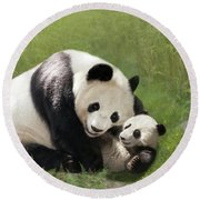 Panda Bears Round Beach Towel
