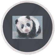 Round Beach Towel featuring the painting Panda For Panda by Jessmyne Stephenson