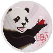 Panda Joy Pink Round Beach Towel