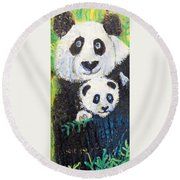 Panda Mother And Cub Round Beach Towel