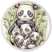Endangered Animal Giant Panda Round Beach Towel