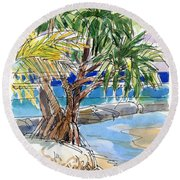 Pandanus Tree On Tapuaetai, Aitutaki Round Beach Towel