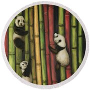 Round Beach Towel featuring the painting Pandas Climbing Bamboo by Leah Saulnier The Painting Maniac