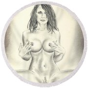 Pandora Full Nude Round Beach Towel