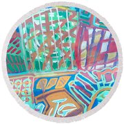 Panel Of Hand Painted Mondeo Round Beach Towel
