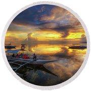 Panglao Port Sunset 10.0 Round Beach Towel by Yhun Suarez
