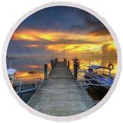 Panglao Port Sunset 8.0 Round Beach Towel by Yhun Suarez
