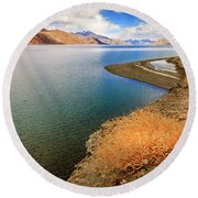Round Beach Towel featuring the photograph Pangong Tso Lake by Alexey Stiop
