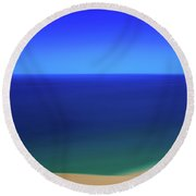 Panning The Blue Horizon Round Beach Towel