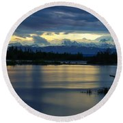 Pano Alaska Midnight Sunset Round Beach Towel