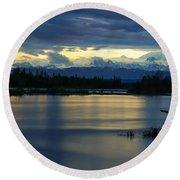 Pano Alaska Midnight Sunset Round Beach Towel by Jennifer White