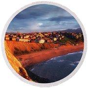 Panorama Of Aixerrota Sunset Round Beach Towel