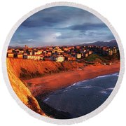 Panorama Of Aixerrota Sunset Round Beach Towel