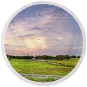 Panorama Of Bales Of Hay In A Field - Chappell Hill Texas Round Beach Towel