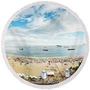 Panorama Of Copacabana, Rio De Janeiro, Brazil  Round Beach Towel