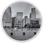 Panorama Of Dallas Skyline From City Hall - North Texas Round Beach Towel