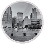 Panorama Of Dallas Skyline From City Hall - North Texas Round Beach Towel