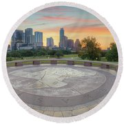 Panorama Of Downtown Austin, Texas, 3 Round Beach Towel by Rob Greebon