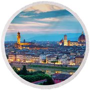 Round Beach Towel featuring the photograph Panorama Of Florence by Fabrizio Troiani