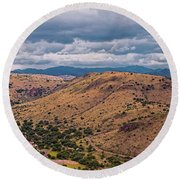 Panorama Of Keesey And Limpia Canyon And Indian Lodge At Davis Mountains State Park - West Texas  Round Beach Towel