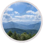 Panorama Of The Foothills Of The Pyrenees In Biert Round Beach Towel